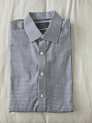 £6 • Buy M&S Mens Blue Check Formal Shirt Excellent Condition