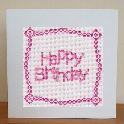 £6.95 • Buy Counted Cross Stitch Card Kit - Happy Birthday - Pink