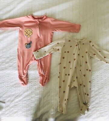 AU1.76 • Buy Marks And Spencer Baby 0-3 Months Babygrows/sleepsuits X2, Zip