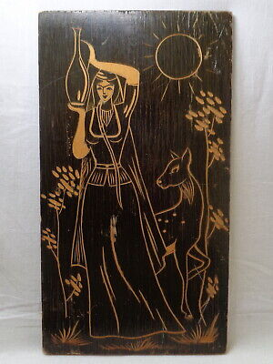 $29.95 • Buy Girl Deer Fawn 1980 Vtg Painting Hand Carved Wooden Picture Milk Jug Lady Woman