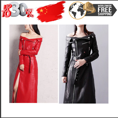 AU98.62 • Buy Spring Autumn Maxi Dresses For Women Slash Neck Red Black Pu Leather Dress