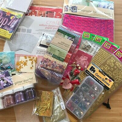 £13.99 • Buy Card Making Bundle Craft Papers, Gem Stones, Glitters And More, Mostly Brand New