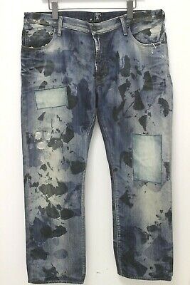 £43.17 • Buy PRPS Men's Distressed Patched Stained Straight Leg Jeans - 38 X 31