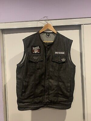 $45 • Buy Black Denim Motorcycle Vest With Patches