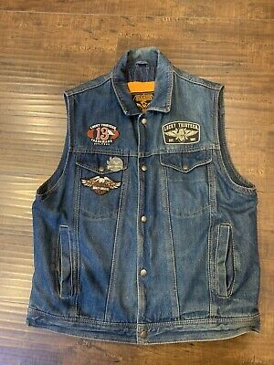 $45 • Buy Milwaukee Performance Denim Motorcycle Vest With Patches & Pins