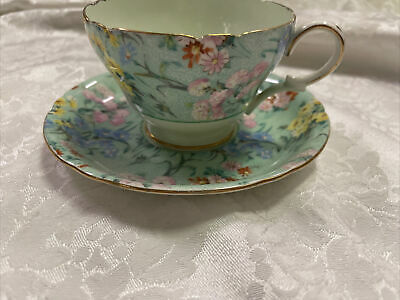 £35.49 • Buy SHELLEY - Melody-Light Green Chintz Fine Bone China Cup And Saucer