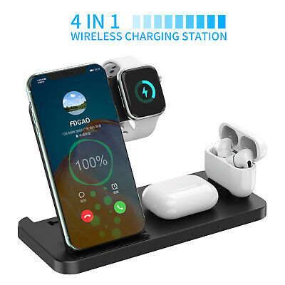 AU28.88 • Buy AU 4in1 15W Qi Wireless Charger Dock Stand Pad For Apple Watch Samsung S21 S20+