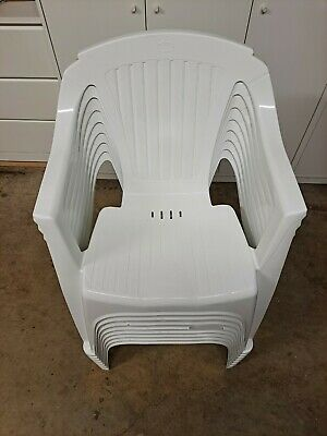 AU20 • Buy White Resin Chairs X8