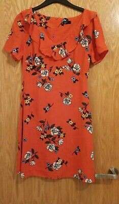Womens Nobodys Child Floral Dress Orange Size 10 Casual Work Holidays Summer • 7.99£