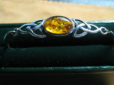 £35 • Buy Boxed Kit Heath Celtic  Sterling Silver & Amber Trinity Knot Bangle