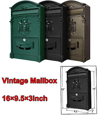 $35.69 • Buy Letterboxes Outdoor Wall-Mount Mail Drop Box,Lockable Keys Postbox Mail US