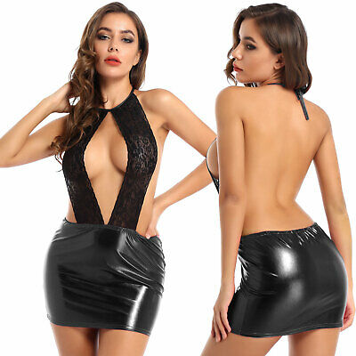 AU0.01 • Buy Sexy Womens Metallic Leather Backless Bodycon Mini Dress Party Club Lace Dresses