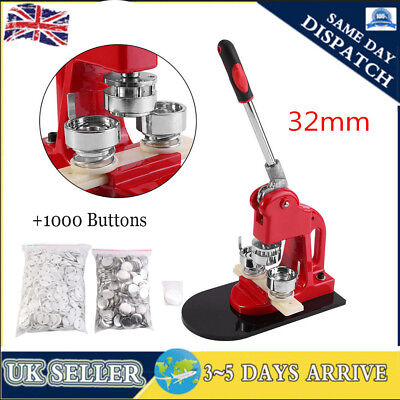 £83.50 • Buy 32mm Badge Button Maker Punch Press Making Machine 1000 Parts+Circle Cutter