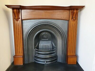 £445 • Buy 2 Cast Iron Fireplace Surround Fire Old Arch Insert Antique Victorian Style