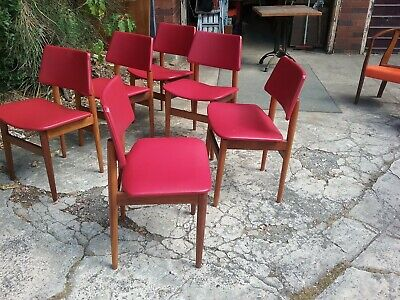 AU640 • Buy Mid Century Modern 60's Dining Chairs X 6