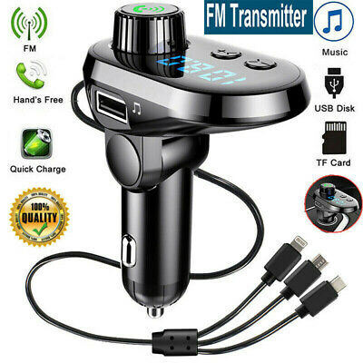 £10.59 • Buy Wireless Bluetooth Car FM Transmitter MP3 Player Radio Adapter Kit USB Charger