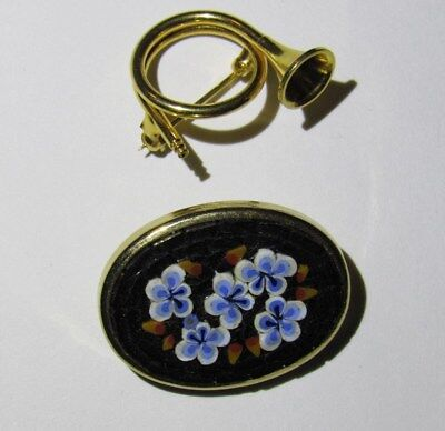 Pendant Horn Flowers Costume Jewelry Lot Italy • 5.65£