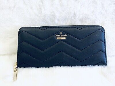 $ CDN72.57 • Buy 🆕 Kate Spade Lindsey Quilted Wallet Black Leather Continental Zip Around