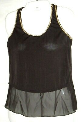 $10.77 • Buy Maite Perroni Coleccion Top Women's Black With Gold Trim Sheer Accent Tank Sz S