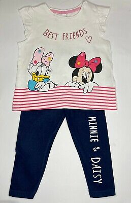Baby Girl 9-12 Months Disney Minnie Mouse Daisy Duck Set Tshirt And Leggings • 5£