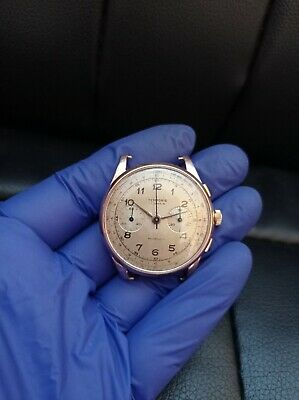$ CDN455.87 • Buy 1940's Landeron Vintage Swiss Chronograph 18k Gold Watch - Restoration Project