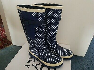 £45 • Buy SECONDS Blue Spotty Ladies Wide Calf Wellies (max. 50cm) UK Size 6