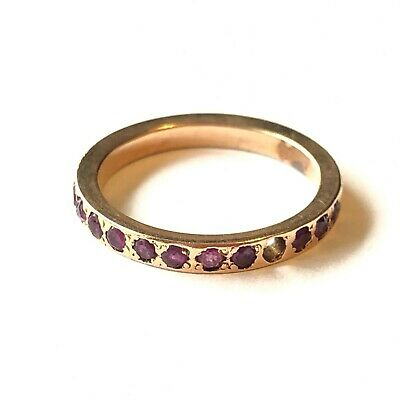 £150 • Buy 9ct Yellow Gold Half Eternity Style Ring - Ruby Set Band