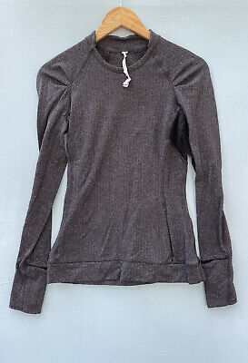 $ CDN45.70 • Buy Lululemon Top 4 Gray Herringbone Workout Shirt Long Sleeve Crewneck