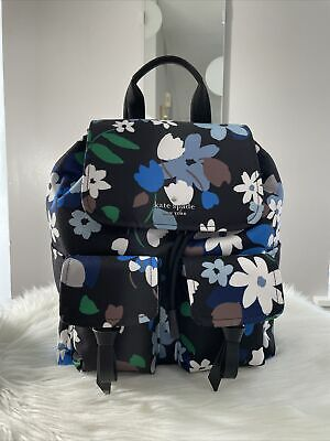 $ CDN138.46 • Buy New Kate Spade Carley B Blooms Blue Floral Canvas Large Flap Backpack Gift