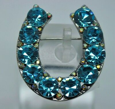 Urbanity Horseshoe Western Rodeo Style Blue/clear Ab  Fashion Brooch/pin Lot 3 • 0.70£