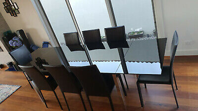AU250 • Buy Nick Scali - Dining Black Glass Table And 8 Black Chairs