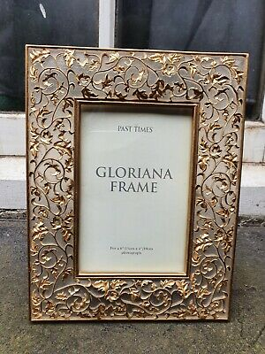 """£29.95 • Buy PAST TIMES COMPOSITION GOLD METAL FRONT PHOTO  PICTURE FRAME 6 3/4""""W X 8 3/4""""D"""