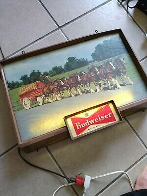 $ CDN361.55 • Buy Budweiser Lighted Beer Sign, VTG Clydesdale Horses Sign---RARE Vtg BUDWEISER USA