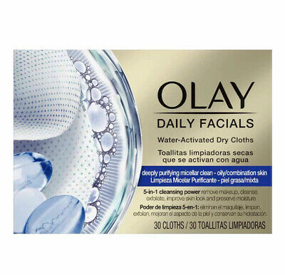 AU16.97 • Buy OLAY Daily Facials 5 In 1 Cleansing Wipes Water Activated Dry Cloths (30 Cloths)