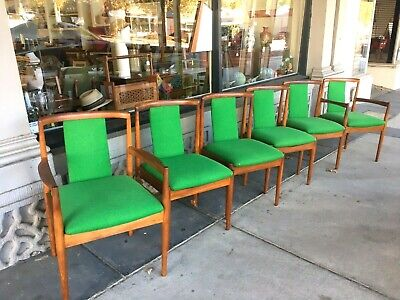 AU2995 • Buy Teak Mid Century Set Of Six Dining Chairs Including Two Carver Parker Lime Green