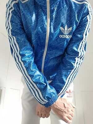£16 • Buy Mens Lads Adidas Rare Reversible Jacket Coat Top Cal Surf Wetlook Shiny Wind Lrg