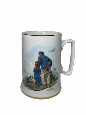 """$ CDN19.29 • Buy Vintage 1985 Norman Rockwell Museum """"Looking Out To Sea"""" Coffee Mug W/ Gold Trim"""