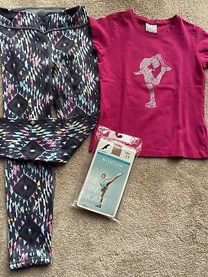 Girls Ice Skating Clothes, Practice Wear, Leggings, T-shirt, New Mondor Tights • 5£