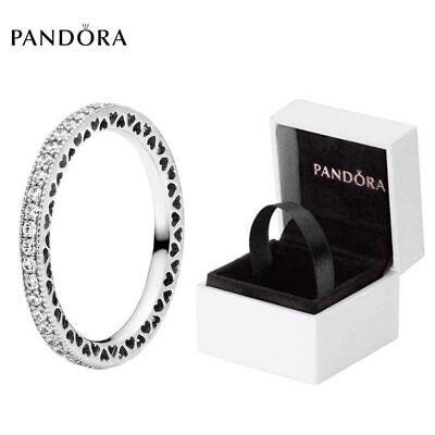 AU25.51 • Buy Pandora 925 Sterling Silver Sparkle And Hearts Ring W/ Cubic Zirconia Size 6