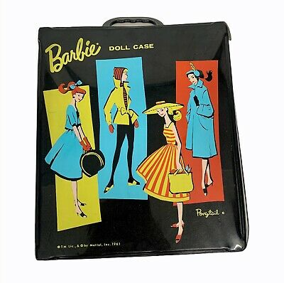 $ CDN26.54 • Buy VINTAGE BARBIE Matel Small Black Ponytail Doll Carrying Case 1961 Compartments