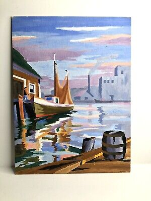 AU31.82 • Buy Vintage Paint By Number Fishing Boat Harbor Scene Oil Painting