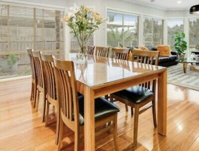 AU1500 • Buy Dinning Table - Balckwood 8 Leather Dinning Chairs And Blackwood Buffet