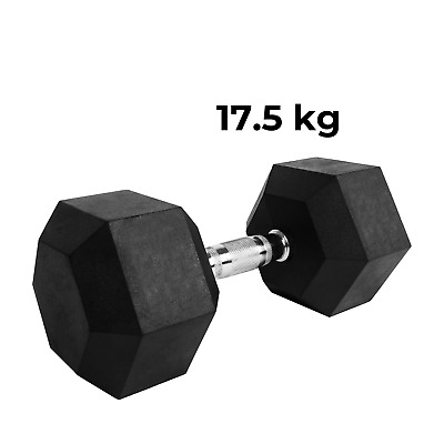 AU71.99 • Buy Verpeak Rubber Hex Dumbbell 17.5kg Weight Home Gym Training Fitness