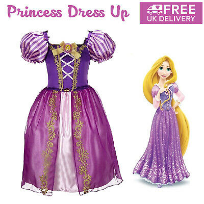 £11.69 • Buy Girls Rapunzel Tangled Fancy Dress Up Princess Party Cosplay Costume Outfit Prom