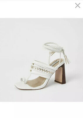 £25 • Buy River Island White Toe Loop Plaited Tie Up Ankle Heel Sandals Size 3 New Was £55
