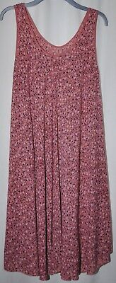 £6 • Buy Ladies Pink & Navy Blue Ditsy Floral Mid Calf Length Summer Dress Uk Size 22