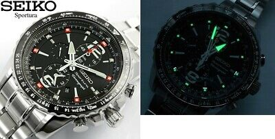$ CDN476.42 • Buy NEW Seiko Gents 44mm Sportura Aviation Alarm Chronograph Watch SNAE95P1 W/box