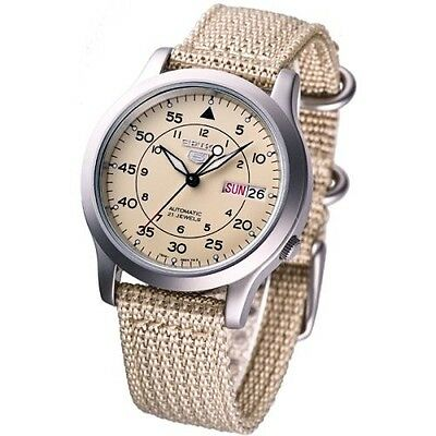 $ CDN160.82 • Buy NEW SEIKO 5 SNK803K2 AUTOMATIC Military WATCH (CAL.7S26C) Beige Face Nylon Strap