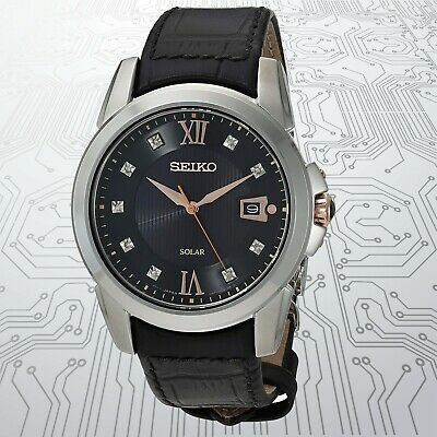 $ CDN227.32 • Buy Seiko - Solar,Stainless Steel Case Leather Strap Men's Watch - SNE427