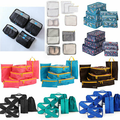 AU15.99 • Buy 6PCS Packing Cubes Travel Pouch Luggage Organiser Clothes Suitcase Storage Bags